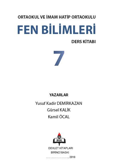 2018-2019 7. Sınıf Fen Bilimleri MEB Yayınları Ders Kitabı