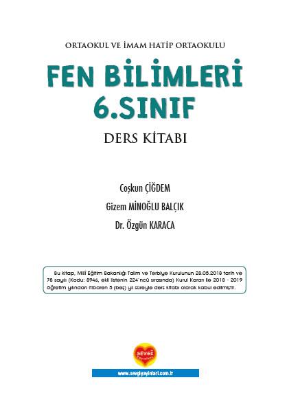 2018-2019 6. Sınıf Fen Bilimleri Sevgi Yayınları Ders Kitabı