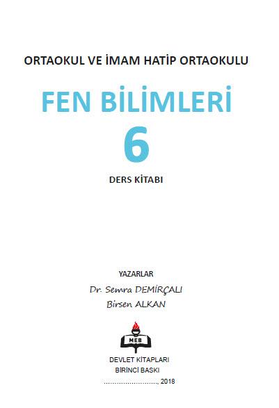 2018-2019 6. Sınıf Fen Bilimleri MEB Yayınları Ders Kitabı