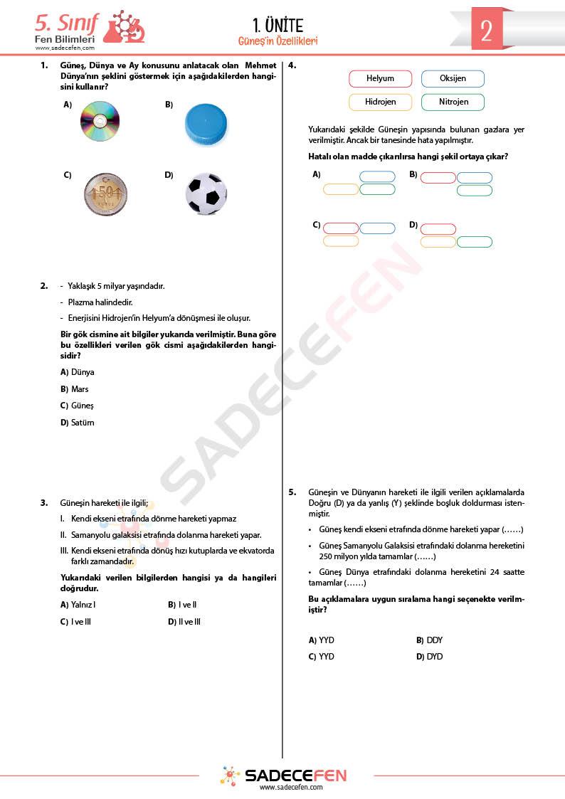 5. Sınıf – Güneşin Özellikleri – Test 2