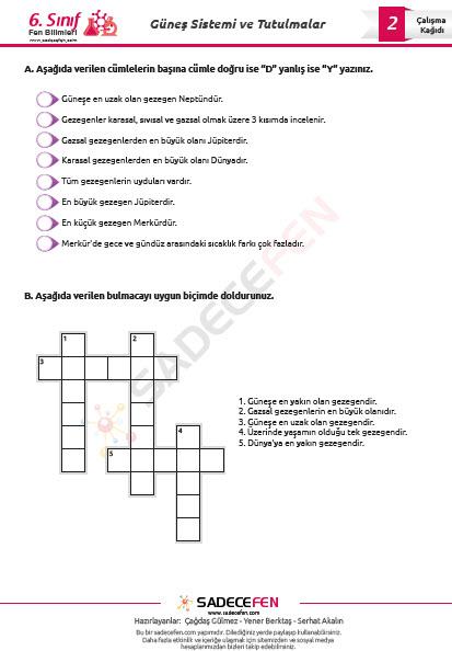 6. Sınıf 1. Ünite (Güneş Sistemi ve Tutulmalar) Çalışma Kağıtları