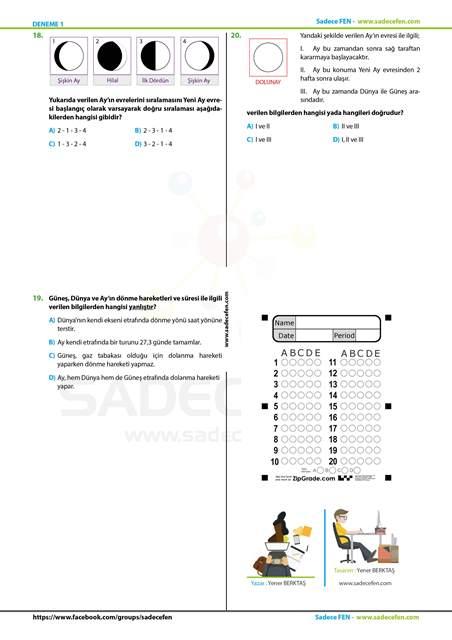 Sadece Fen 5. Sınıf Deneme 1