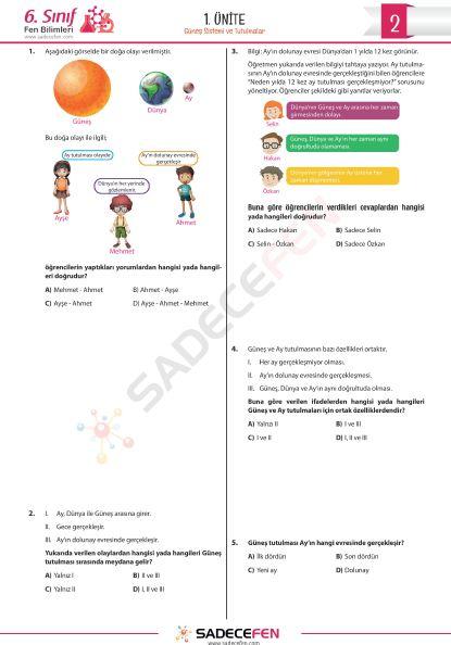 6. Sınıf 1. Ünite (Güneş Sistemi ve Tutulmalar) Test 2