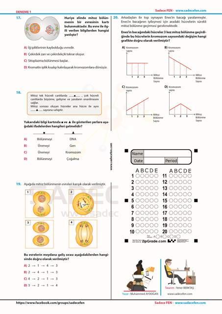 Sadece Fen 7. Sınıf Deneme 1