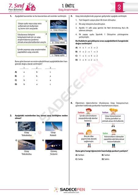 7. Sınıf 1. Ünite Uzay Araştırmaları Test 3