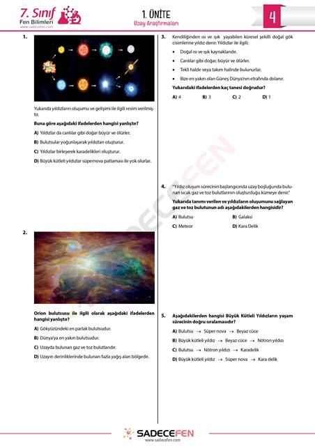 7. Sınıf 1. Ünite Uzay Araştırmaları Test 4