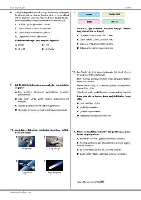 7. Sınıf 1. Ünite Uzay Araştırmaları Test 2
