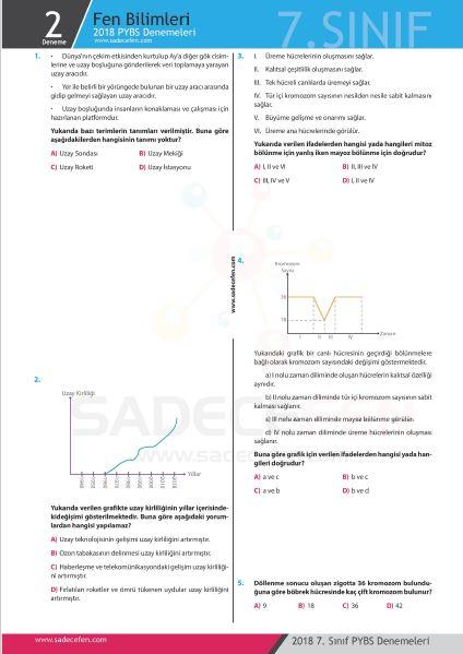 7. Sınıf Fen Bilimleri Denemesi 2