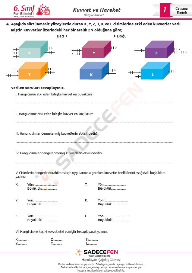 6. Sınıf Fen Bilimleri Kuvvet ve Hareket Çalışma Kağıdı 1