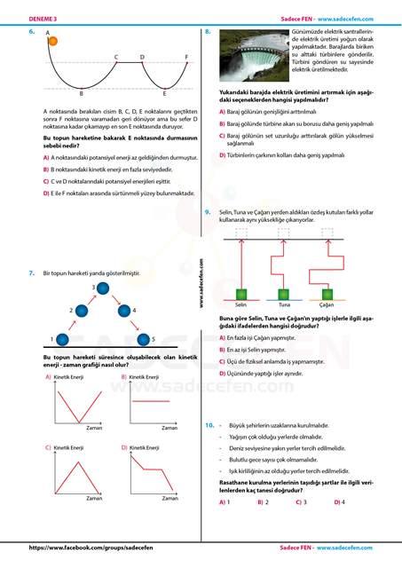 7. Sınıf Fen Bilimleri Denemesi 3