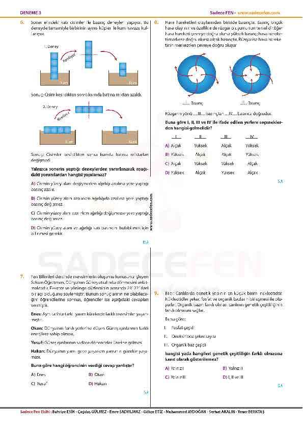 LGS Fen Bilimleri Denemesi 3