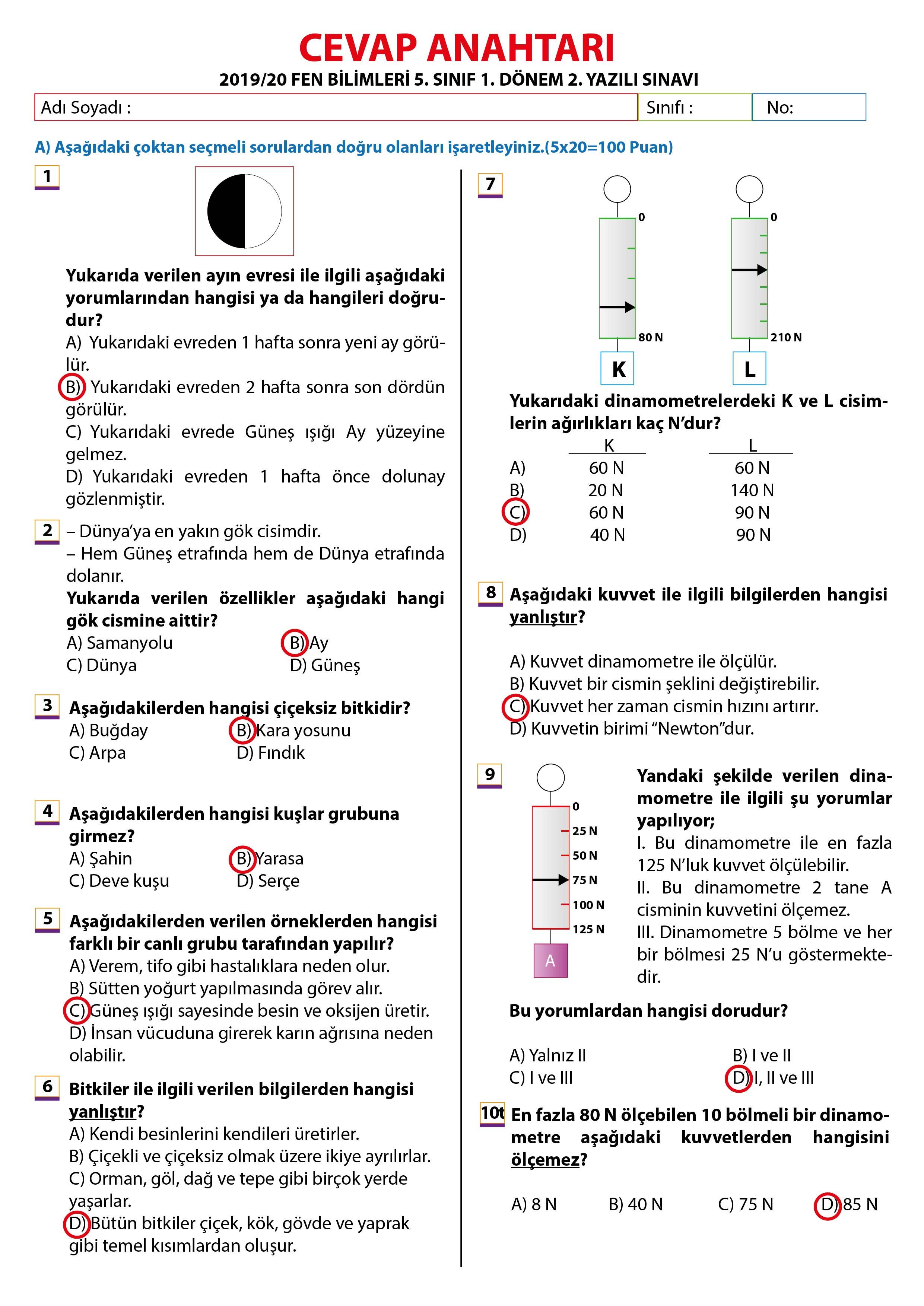 2019 – 2020 5. Sınıf Fen Bilimleri 1. Dönem 2. Yazılı Sınavı – Sadece Test