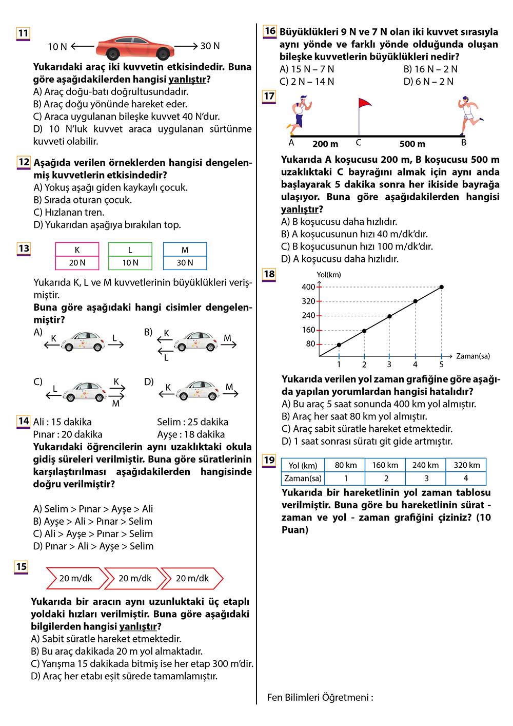 2019 – 2020 6. Sınıf Fen Bilimleri 1. Dönem 2. Yazılı Sınavı – Çoktan Seçmeli