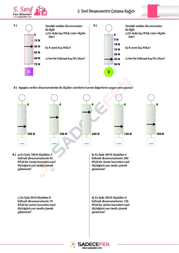 5. Sınıf Dinamometre Çalışma Kağıdı – Sadece Fen