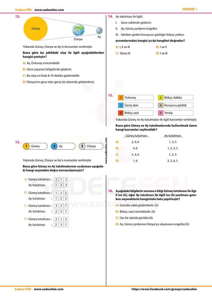 6. Sınıf Deneme Sınavı 1