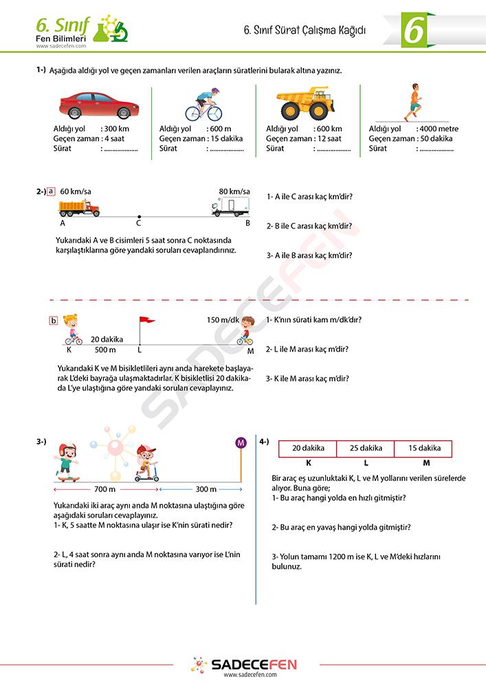 6 Sinif Surat Problemleri Ve Grafikleri Calisma Kagidi Fen