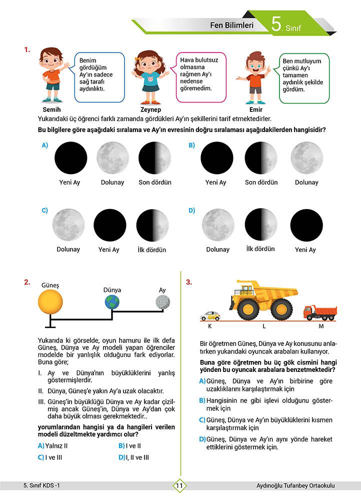 1. Dönem Kurs Değerlendirme Sınavı (5. Sınıf)