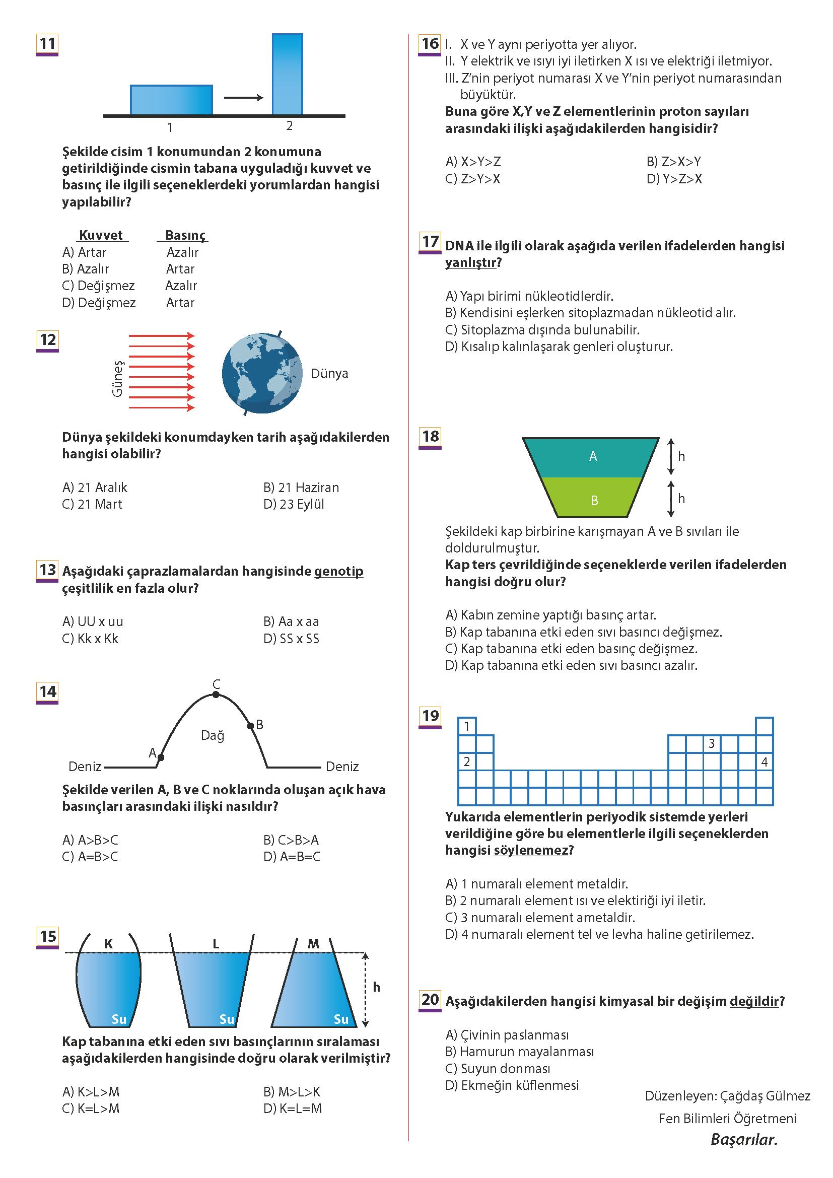 2019 – 2020 8. Sınıf Fen Bilimleri 1. Dönem 2. Yazılı Sınavı – Çoktan Seçmeli