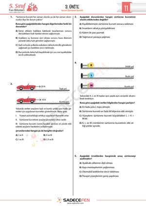 5. Sınıf Sürtünme Kuvveti Testi
