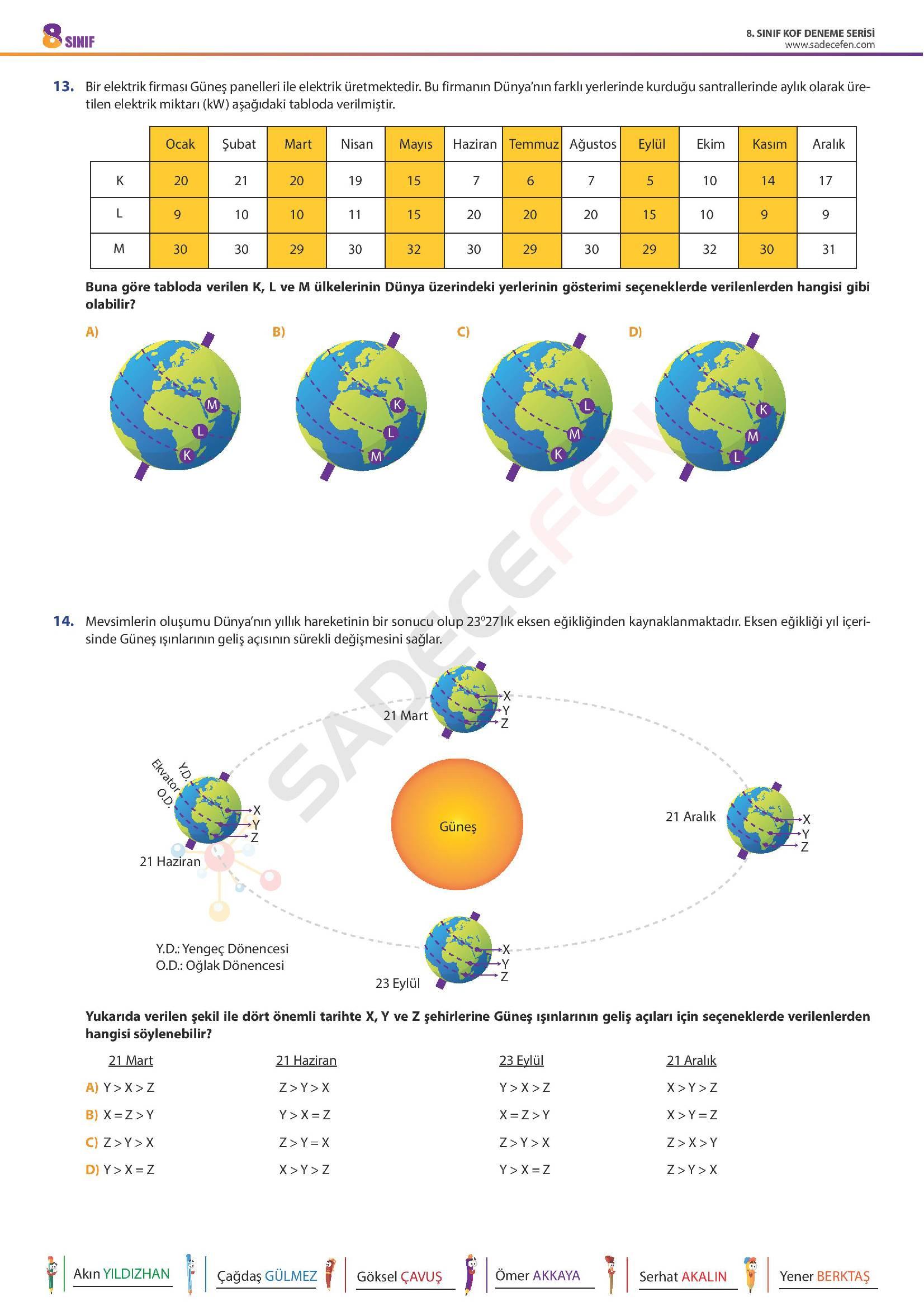 8. Sınıf LGS Fen Bilimleri Denemesi 1