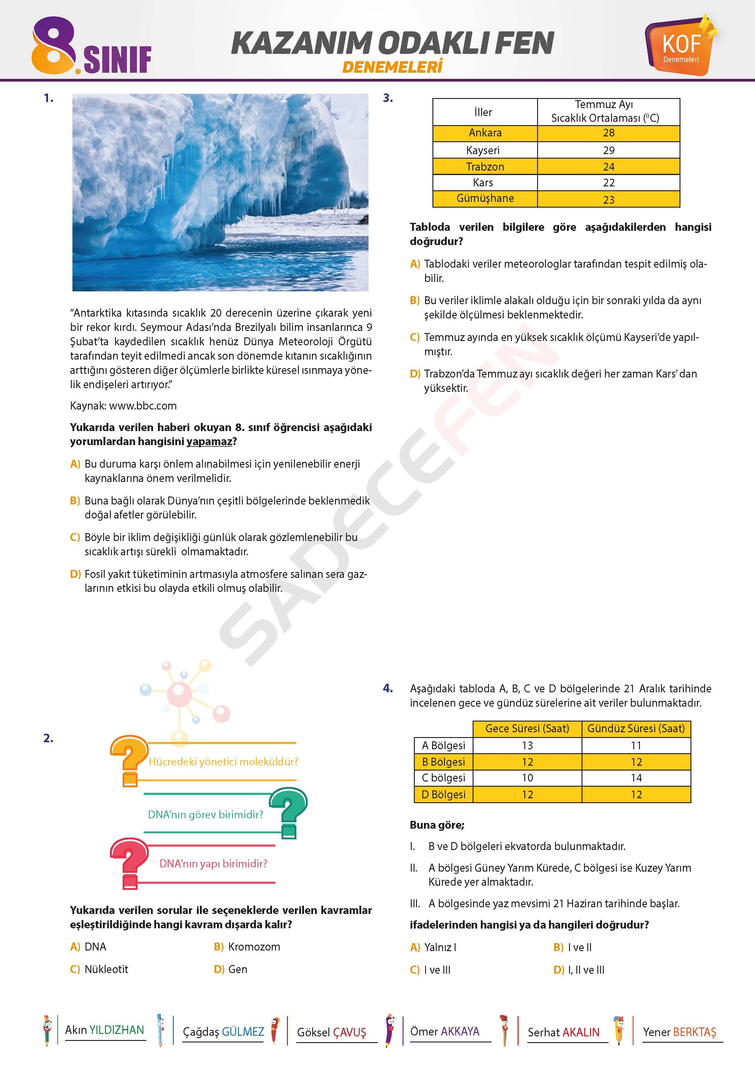 8. Sınıf LGS Fen Bilimleri Denemesi 2