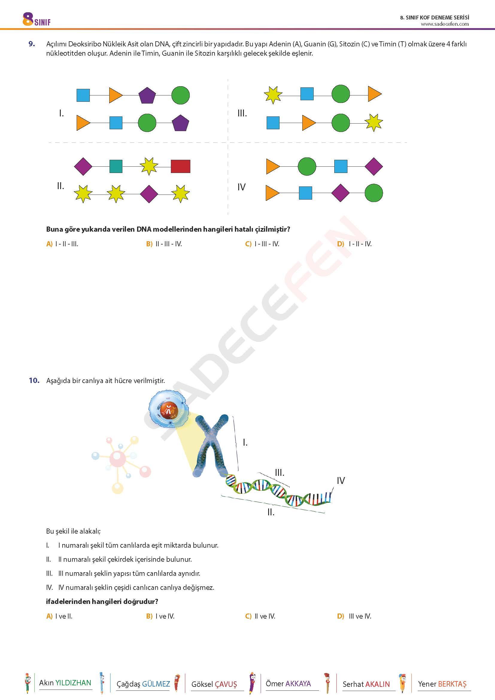 8. Sınıf LGS Fen Bilimleri Denemesi 3 – Sadecefen
